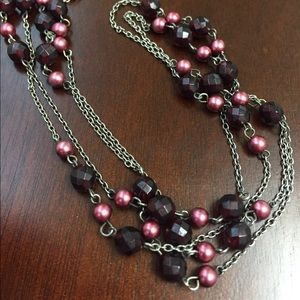 Jewelry - Long Necklace with Cranberry-Colored Beads